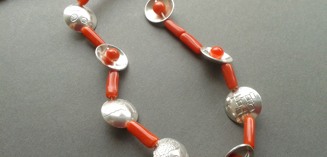 Necklace with coral and Sterling Silver
