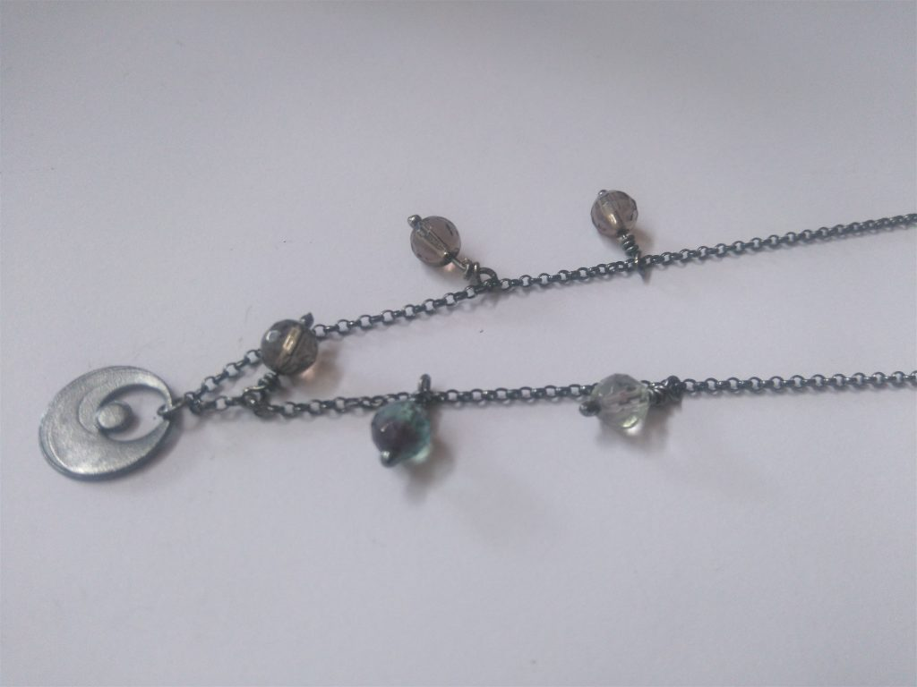 Moon Necklace in Oxidised Sterling Silver with hand made clasp and semi precious stones smoky quartz, flourite and sun stone.