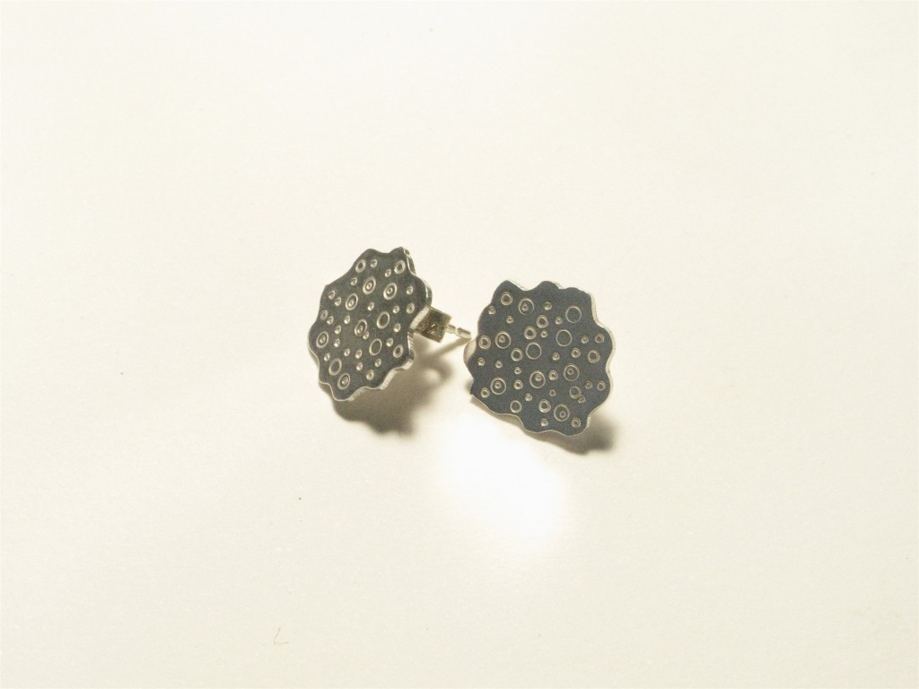 Sterling Silver stud Earrings  small size,  'Urchin' Collection