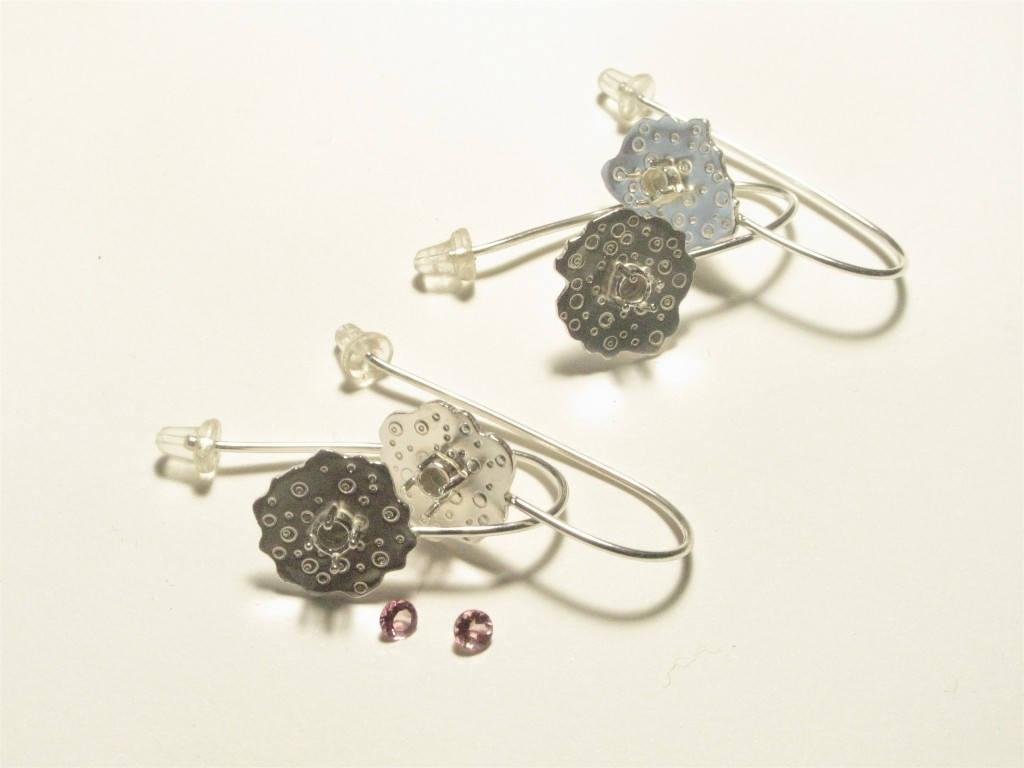 Sterling Silver Earrings  with Tourmaline. 'Urchin' Collection