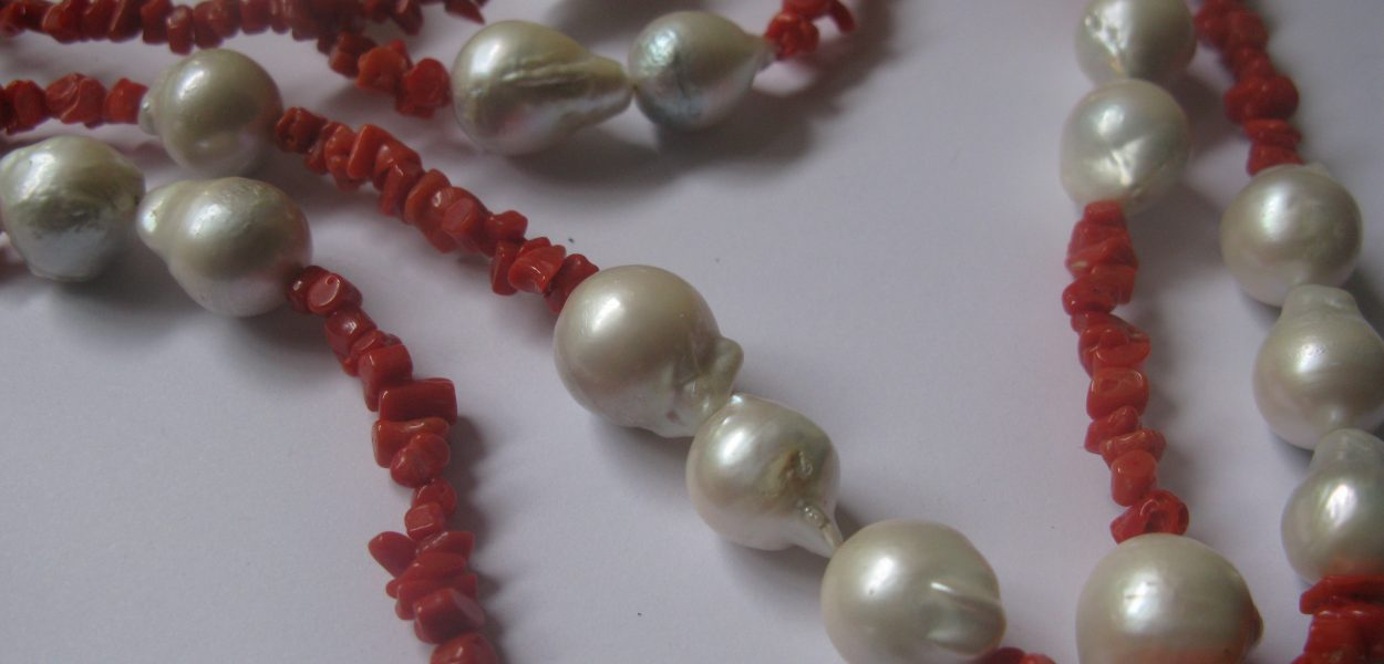 Pearl and coral necklace with Sterling Silver clasps