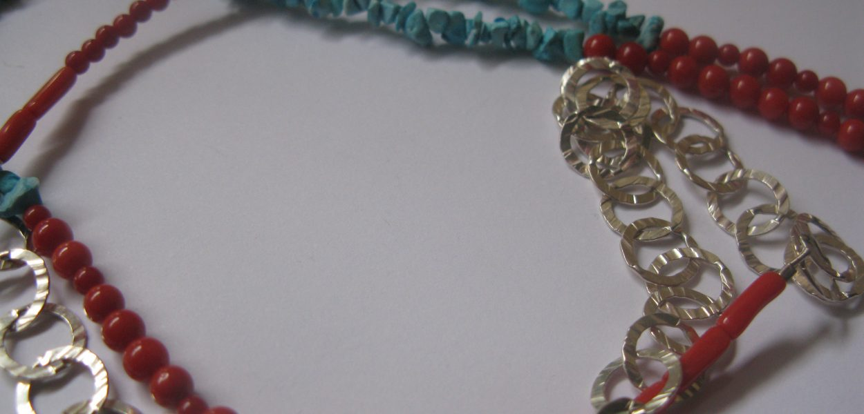 Sterling Silver with old coral and turquoise necklace.