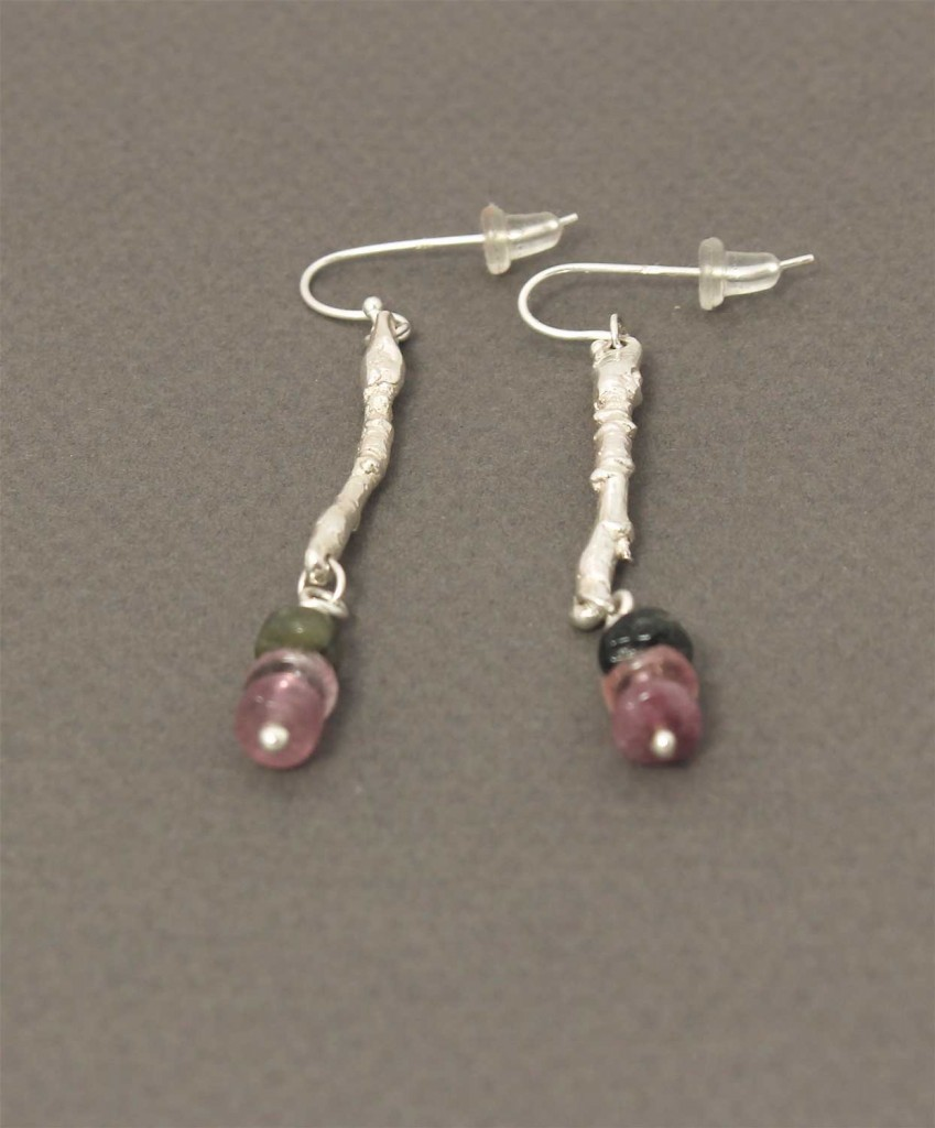Earring in Sterling Silver with tourmaline