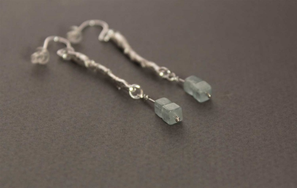 Earring in Sterling Silver with Aquamarine