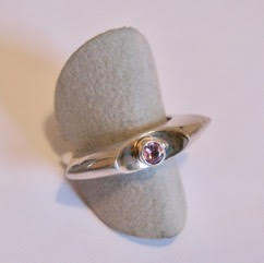 ' Sepia'. Sterling Silver ring with pink Tourmaline
